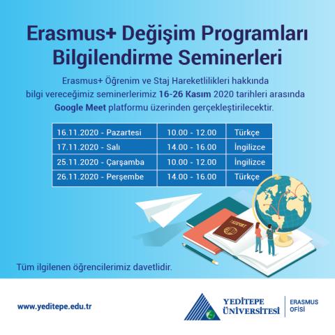 Erasmus+ Değişim Programları Bilgilendirme Seminerlerine Davetlisiniz!