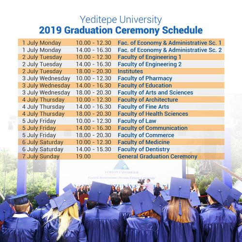 Yeditepe University 2019 Graduation Ceremony Schedule
