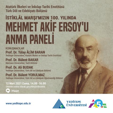 İstiklâl Marşı'mızın 100. Yılında Mehmet Akif Ersoy'u Anma Paneli