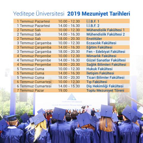 Yeditepe Üniversitesi 2019 Mezuniyet Tarihleri