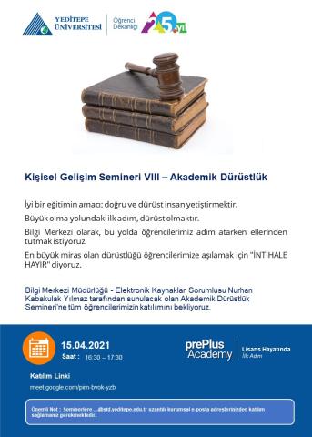 prePlus Academy - Kişisel Gelişim Semineri VIII - Akademik Dürüstlük