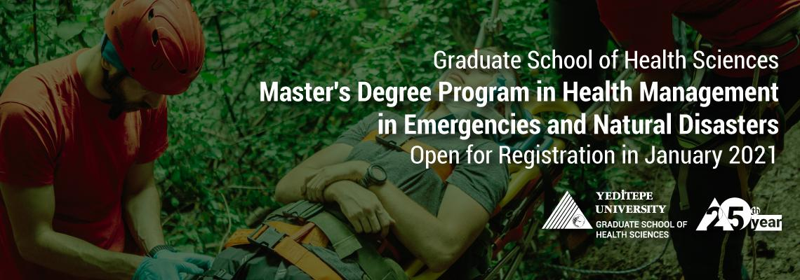 Master's Degree Program in Health Management in Emergencies and Natural Disasters